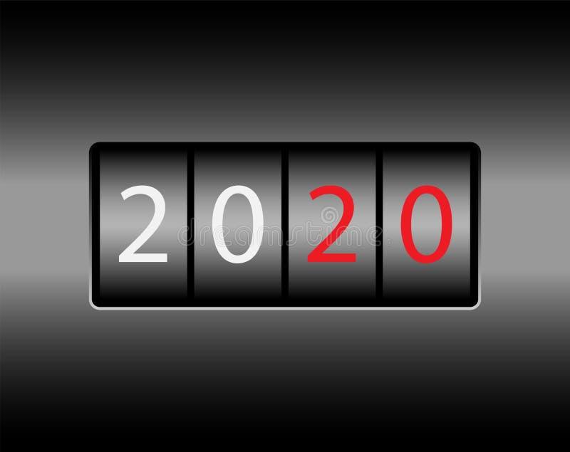 Οδόμετρο με τους αριθμούς 2020 Νέο το 2020 στο οδόμετρο Άσπροι και κόκκινοι αριθμοί, μαύρο υπόβαθρο διανυσματική απεικόνιση
