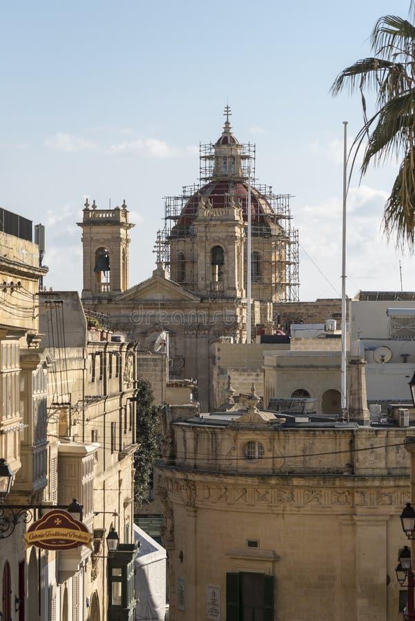 Οδός κάτω από την ακρόπολη Βικτώρια Gozo στοκ εικόνες