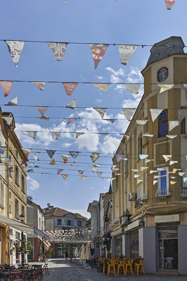 Οδός και σπίτια στην περιοχή Kapana, πόλη Plovdiv στοκ εικόνα με δικαίωμα ελεύθερης χρήσης