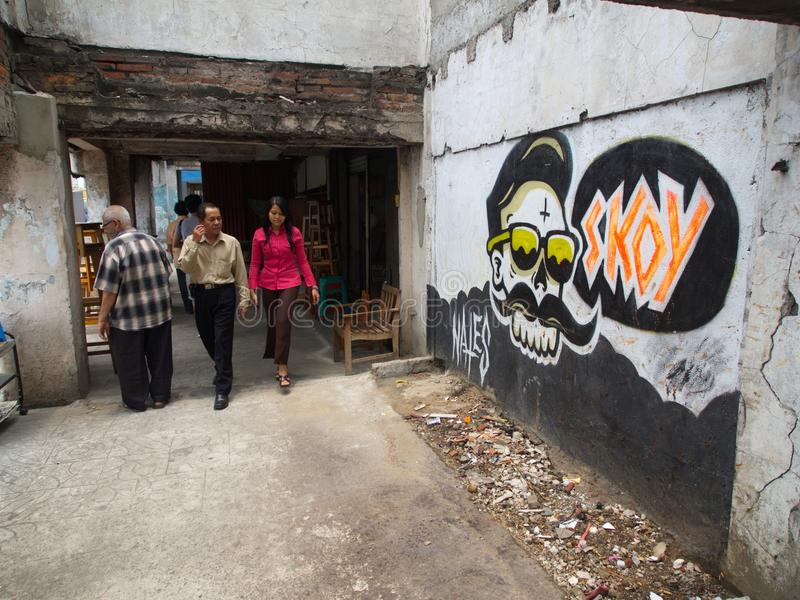Οδός καλλιτεχνών στο παλαιό τετράγωνο Ταξίδι στην Τζακάρτα, το κεφάλαιο στοκ εικόνες