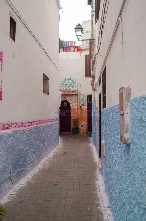 Οδός, Μαρόκο, μπλε, medina, Κασαμπλάνκα στοκ φωτογραφία