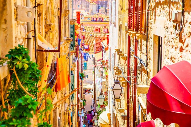 Οδός στην παλαιά πόλη Dubrovnik στοκ εικόνες με δικαίωμα ελεύθερης χρήσης