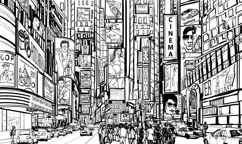 Οδός στην πόλη της Νέας Υόρκης διανυσματική απεικόνιση