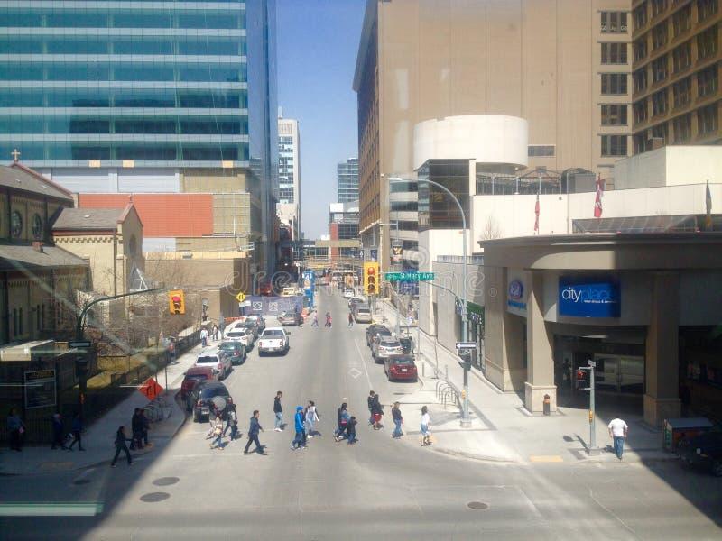 Οδός στο κέντρο της πόλης Winnipeg στοκ φωτογραφίες