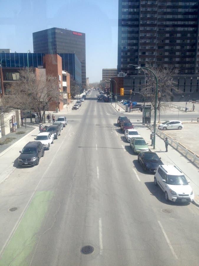 Οδός στο κέντρο της πόλης Winnipeg στοκ φωτογραφία
