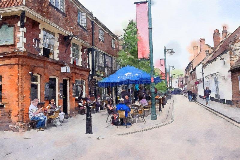 Οδός στο Καντέρμπουρυ, ύφος watercolor διανυσματική απεικόνιση