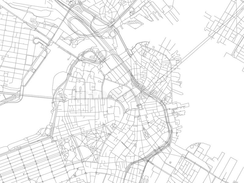 Οδός της Βοστώνης, χάρτης πόλεων, Μασαχουσέτη, Ηνωμένες Πολιτείες διανυσματική απεικόνιση