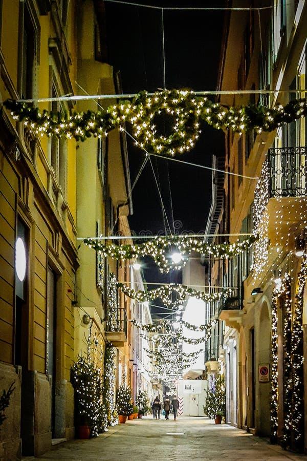 Οδός του Μιλάνου κατά τη διάρκεια των Χριστουγέννων στοκ εικόνες με δικαίωμα ελεύθερης χρήσης