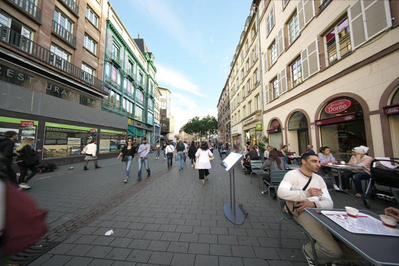 Οδός Arcades Grandes που συνδέει την πλατεία Kleber στο Στρασβούργο, Γαλλία στοκ εικόνες