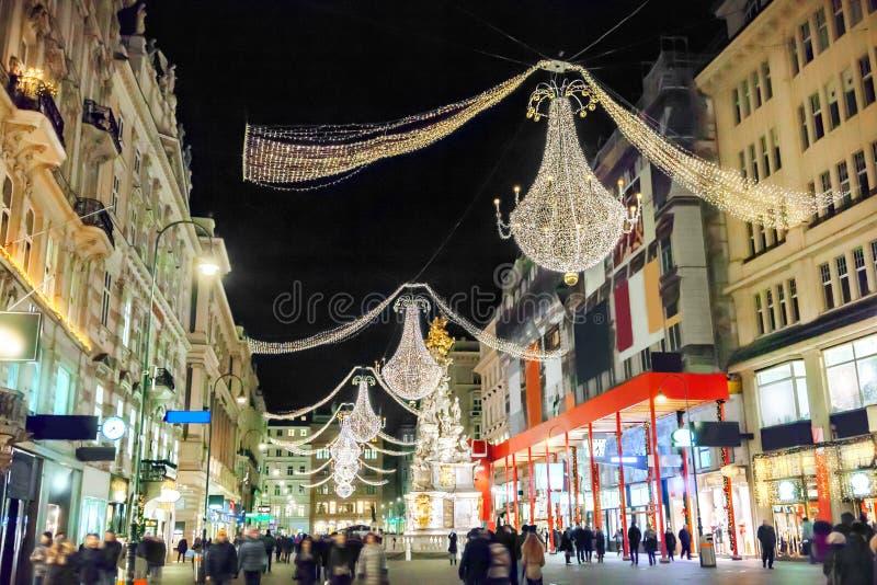Οδός Graben τή νύχτα στη Βιέννη στοκ εικόνα