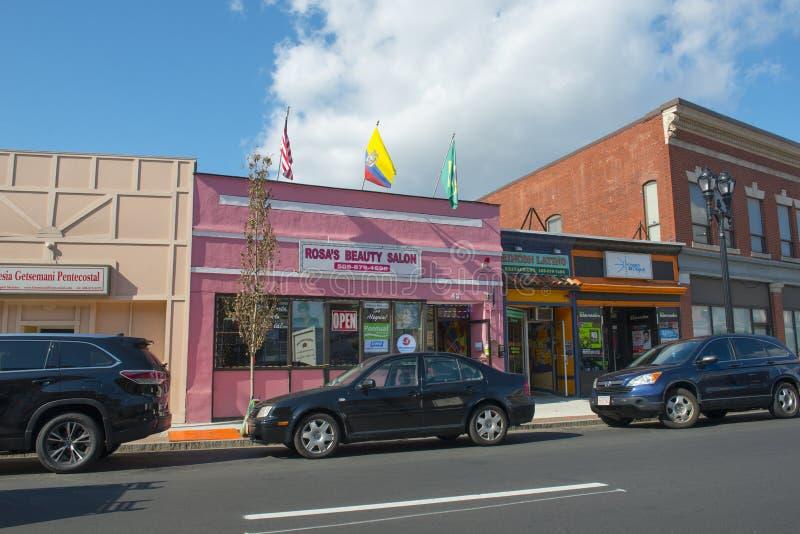 Οδός Hollis Framingham, Μασαχουσέτη, ΗΠΑ στοκ φωτογραφίες