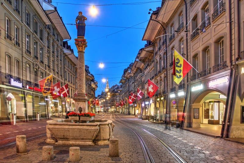 Οδός Marktgasse, Βέρνη, Ελβετία στοκ φωτογραφία