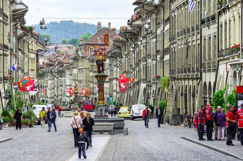 Οδός Marktgasse Βέρνη, Ελβετία στοκ εικόνες