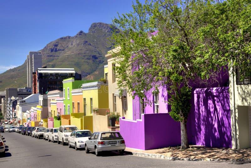 Οδός Wale, περίληψη εξοχικών σπιτιών του BO Kaap στοκ φωτογραφία με δικαίωμα ελεύθερης χρήσης