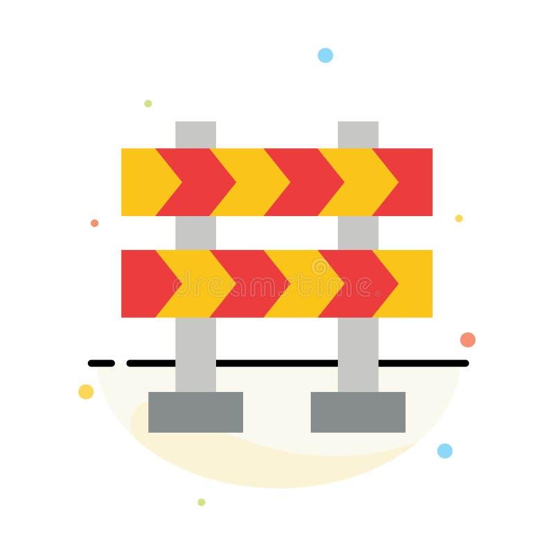 Οδόφραγμα, εμπόδιο, αφηρημένο επίπεδο πρότυπο εικονιδίων χρώματος κατασκευής απεικόνιση αποθεμάτων