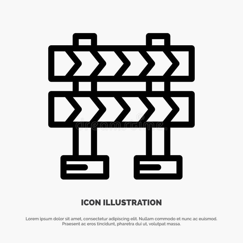 Οδόφραγμα, εμπόδιο, διάνυσμα εικονιδίων γραμμών κατασκευής απεικόνιση αποθεμάτων
