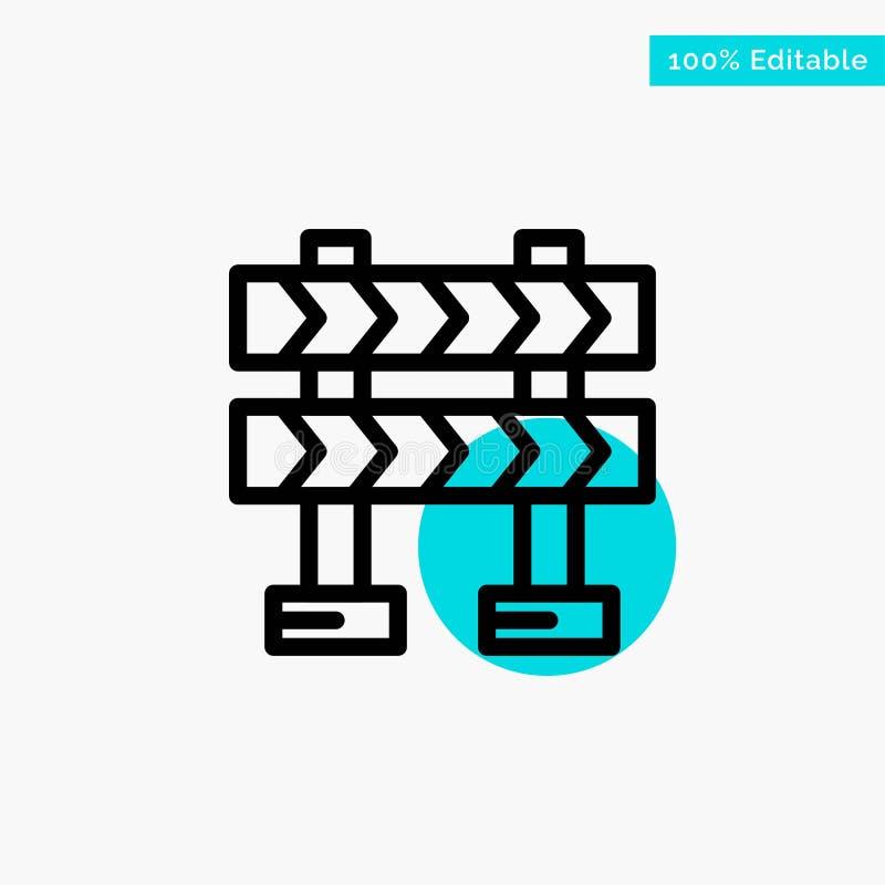 Οδόφραγμα, εμπόδιο, διανυσματικό εικονίδιο σημείου κυριώτερων κύκλων κατασκευής τυρκουάζ απεικόνιση αποθεμάτων