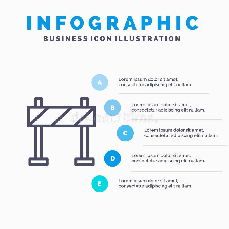 Οδόφραγμα, εμπόδιο, εικονίδιο γραμμών κατασκευής με το υπόβαθρο infographics παρουσίασης 5 βημάτων διανυσματική απεικόνιση
