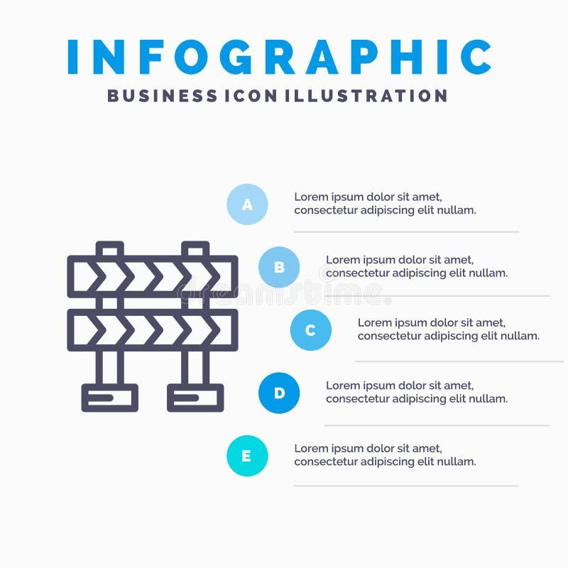 Οδόφραγμα, εμπόδιο, εικονίδιο γραμμών κατασκευής με το υπόβαθρο infographics παρουσίασης 5 βημάτων απεικόνιση αποθεμάτων