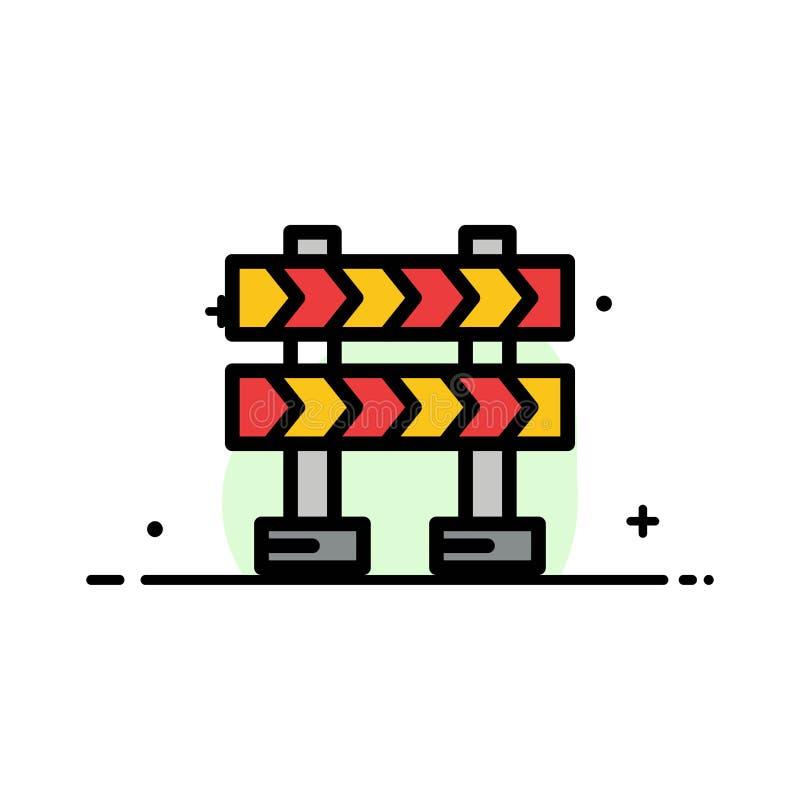 Οδόφραγμα, εμπόδιο, κατασκευής πρότυπο εμβλημάτων επιχειρησιακών επίπεδο γεμισμένο γραμμή εικονιδίων διανυσματικό απεικόνιση αποθεμάτων