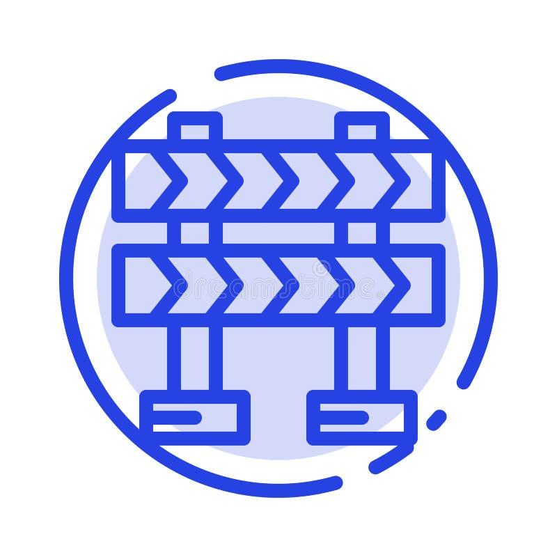 Οδόφραγμα, εμπόδιο, μπλε εικονίδιο γραμμών διαστιγμένων γραμμών κατασκευής διανυσματική απεικόνιση