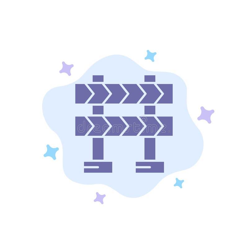 Οδόφραγμα, εμπόδιο, μπλε εικονίδιο κατασκευής στο αφηρημένο υπόβαθρο σύννεφων ελεύθερη απεικόνιση δικαιώματος