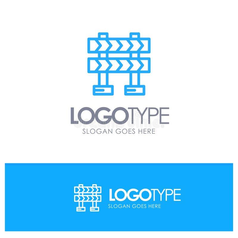 Οδόφραγμα, εμπόδιο, μπλε θέση λογότυπων περιλήψεων κατασκευής για Tagline απεικόνιση αποθεμάτων