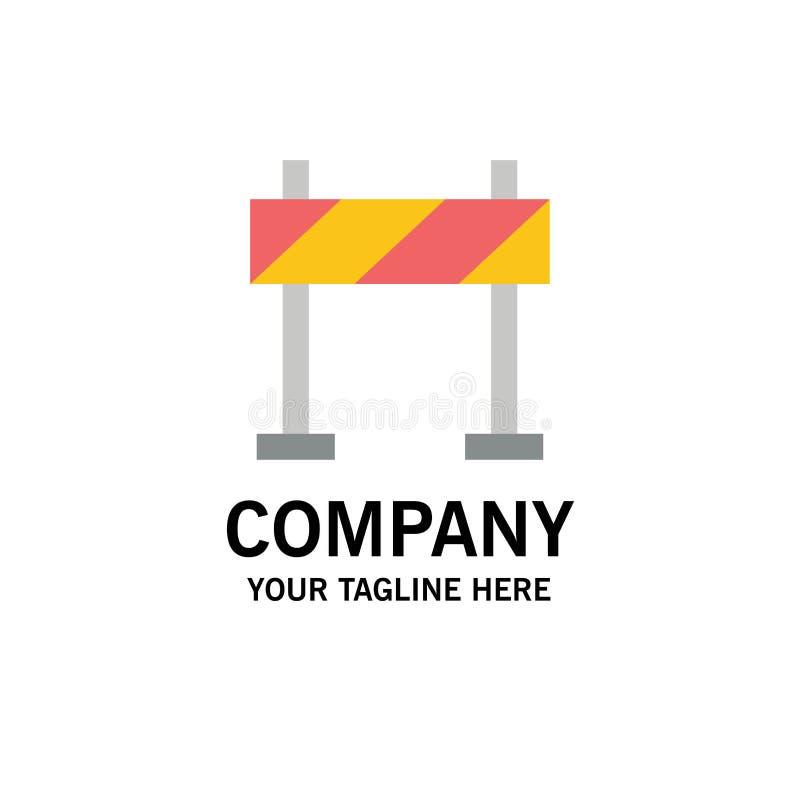 Οδόφραγμα, εμπόδιο, πρότυπο επιχειρησιακών λογότυπων κατασκευής Επίπεδο χρώμα διανυσματική απεικόνιση