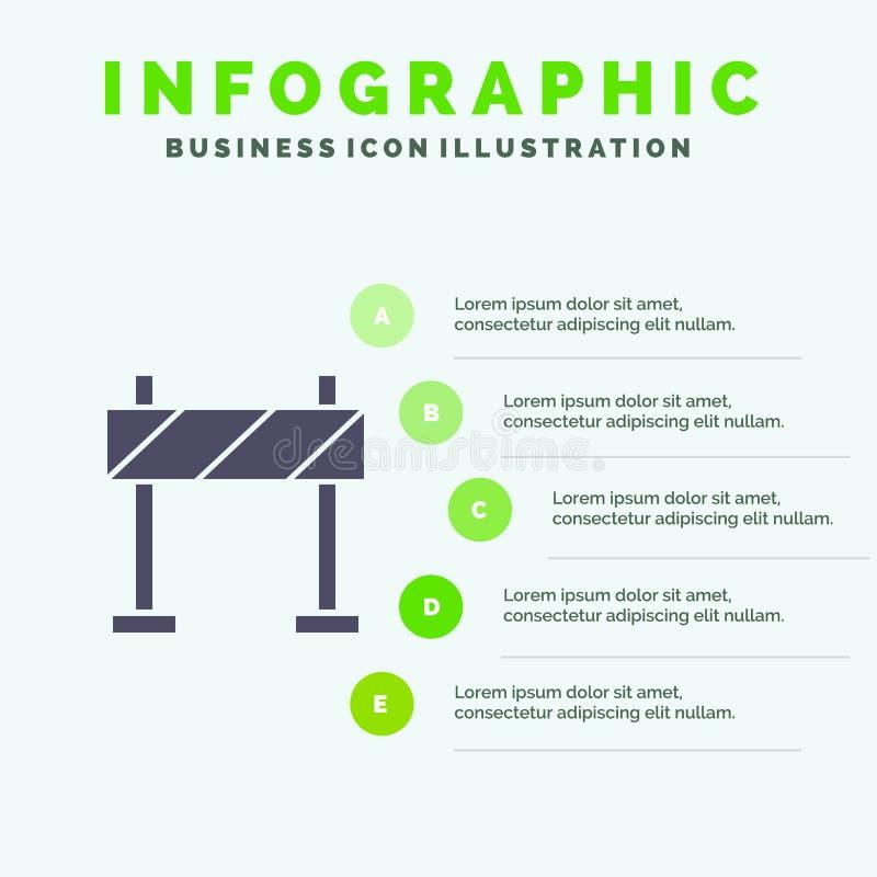 Οδόφραγμα, εμπόδιο, στερεό εικονίδιο Infographics 5 κατασκευής υπόβαθρο παρουσίασης βημάτων ελεύθερη απεικόνιση δικαιώματος
