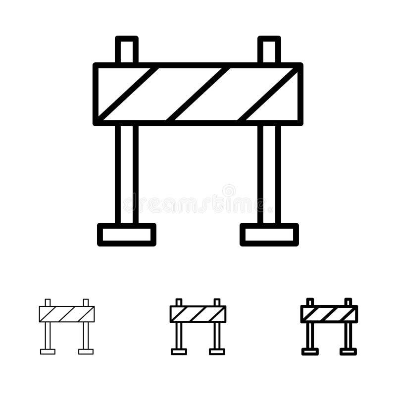 Οδόφραγμα, εμπόδιο, τολμηρό και λεπτό μαύρο σύνολο εικονιδίων γραμμών κατασκευής ελεύθερη απεικόνιση δικαιώματος