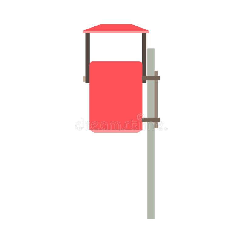 Οδών απορριμάτων υπαίθριο αντικείμενο επαναχρησιμοποίησης δοχείων απορριμμάτων κόκκινο περιβαλλοντικό Διανυσματικό εικονίδιο δοχε απεικόνιση αποθεμάτων
