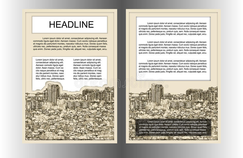 ΟΗΕ εικονικής παράστασης πόλης προτύπων φυλλάδιων ελεύθερη απεικόνιση δικαιώματος
