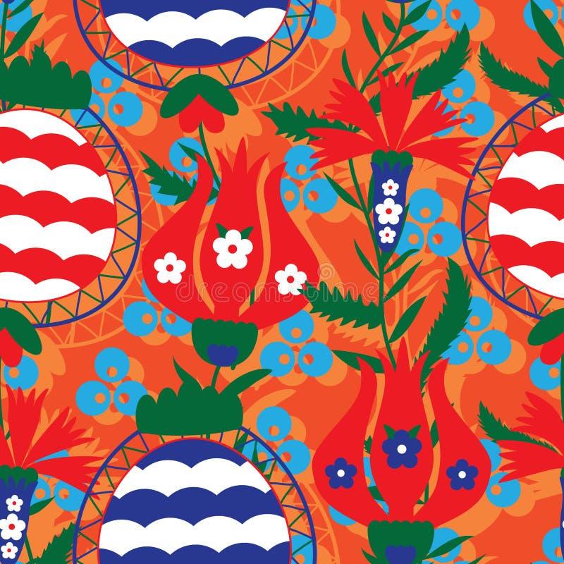 Οθωμανικό άνευ ραφής σχέδιο ύφους ροδιών ελεύθερη απεικόνιση δικαιώματος