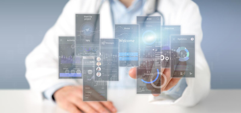 Οθόνες ενδιάμεσων με τον χρήστη εκμετάλλευσης γιατρών με το εικονίδιο, stats και την τρισδιάστατη απόδοση στοιχείων στοκ εικόνα με δικαίωμα ελεύθερης χρήσης