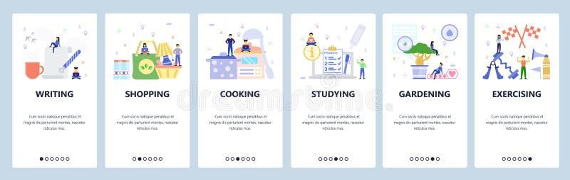Οθόνες ενεργοποίησης εφαρμογών για κινητές συσκευές Γραφή, αγορές, μαγείρεμα, μελέτη, άσκηση Πρότυπο διανυσματικού πανό μενού για απεικόνιση αποθεμάτων