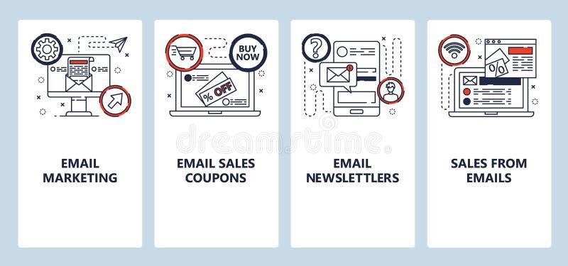 Οθόνες ενεργοποίησης εφαρμογών για κινητές συσκευές Μάρκετινγκ μέσω email, πωλήσεις και ενημερωτικά δελτία Πρότυπο διανυσματικού  διανυσματική απεικόνιση