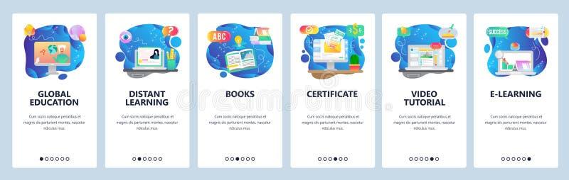 Οθόνες ενεργοποίησης εφαρμογών για κινητές συσκευές Παγκόσμια εκπαίδευση, επιγραμμικά μαθήματα και καθηγητές, πιστοποιητικό αποφο διανυσματική απεικόνιση