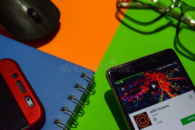 Οθόνες dev app AEM στην οθόνη Smartphone στοκ εικόνες με δικαίωμα ελεύθερης χρήσης