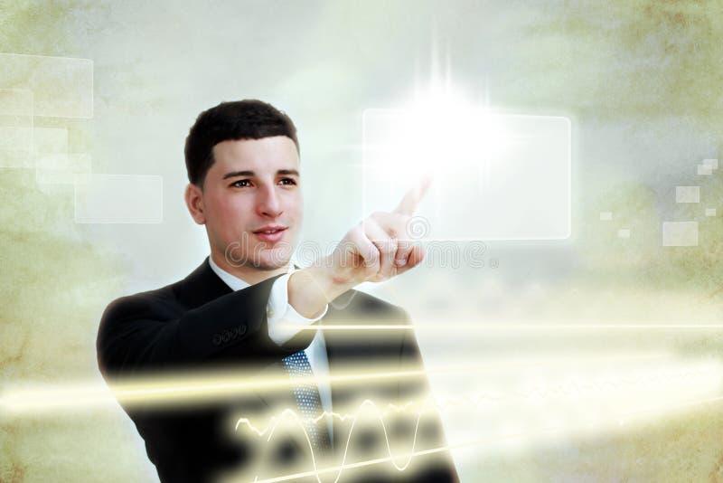 οθόνη ατόμων επιχειρησιακών κουμπιών που επιλέγει τις νεολαίες αφής στοκ εικόνα