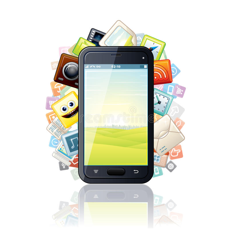 Smartphone, που περιβάλλεται από τα εικονίδια MEDIA Apps. Διάνυσμα διανυσματική απεικόνιση
