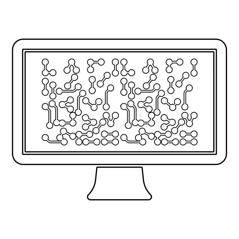 Οθόνη με τη σχεδίου τεχνολογίας έννοιας εικονιδίων περιλήψεων μαύρη χρώματος διανυσματική εικόνα ύφους απεικόνισης επίπεδη διανυσματική απεικόνιση