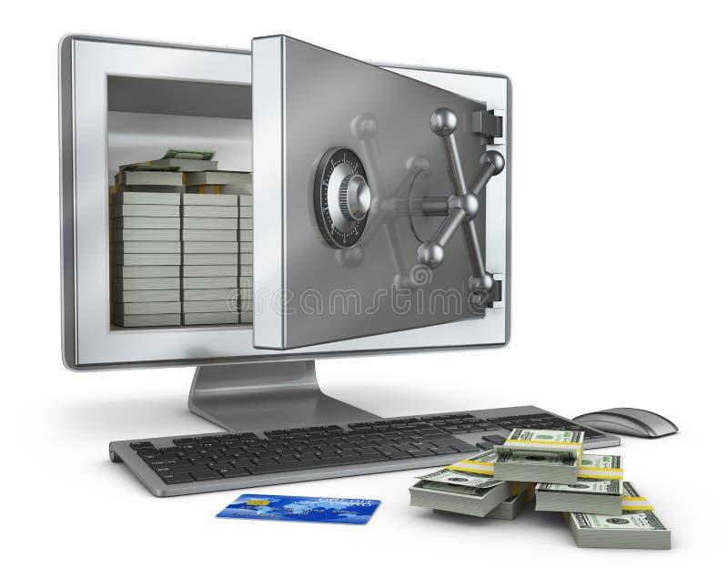 Οθόνη με το ανοικτό χρηματοκιβώτιο διανυσματική απεικόνιση