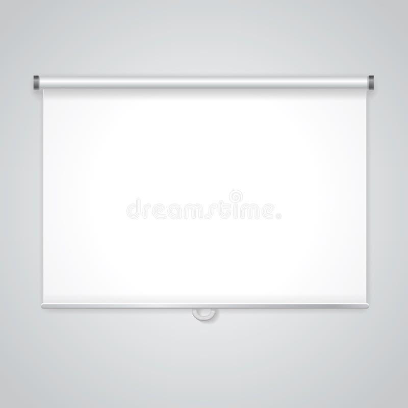 Οθόνη παρουσίασης προβολής Λευκός πίνακας για την επιχείρηση, κενό έγγραφο διανυσματική απεικόνιση