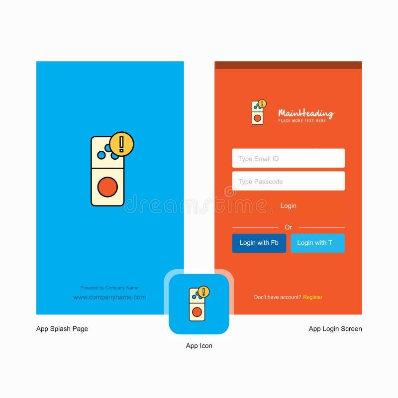 Οθόνη παφλασμών λάθους Διαδικτύου επιχείρησης και σχέδιο σελίδων σύνδεσης με το πρότυπο λογότυπων Κινητό σε απευθείας σύνδεση επι ελεύθερη απεικόνιση δικαιώματος