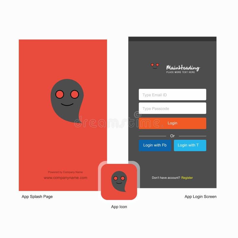 Οθόνη παφλασμών φαντασμάτων επιχείρησης και σχέδιο σελίδων σύνδεσης με το πρότυπο λογότυπων Κινητό σε απευθείας σύνδεση επιχειρησ ελεύθερη απεικόνιση δικαιώματος