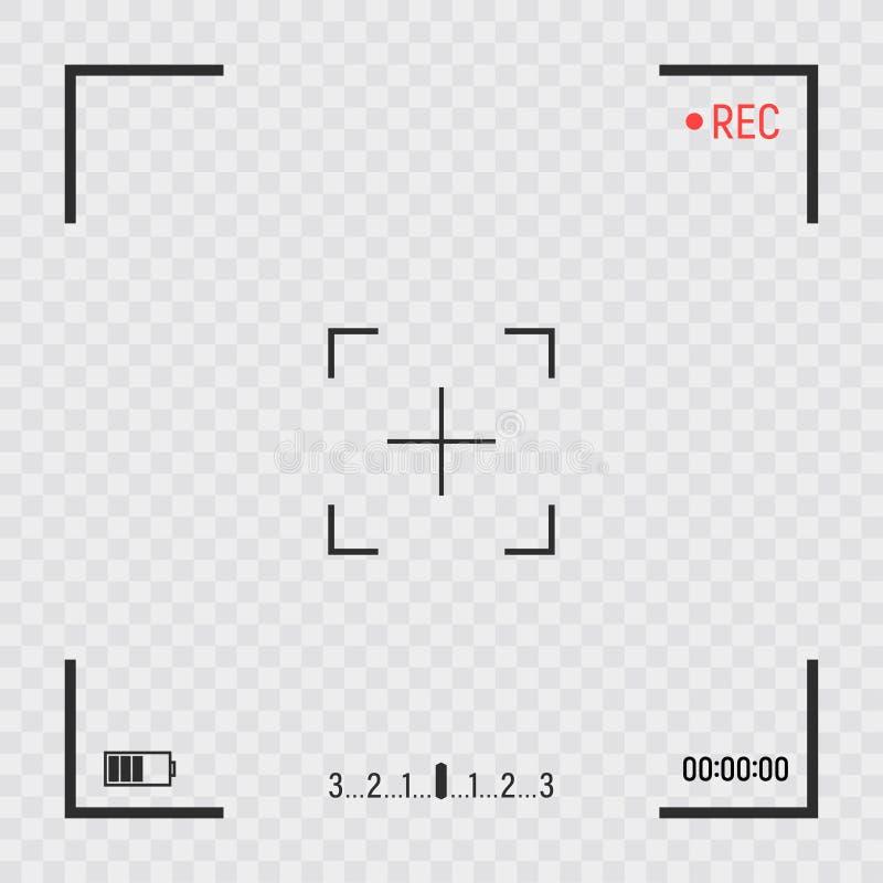 Οθόνη σκοπεύτρων πλαισίων καμερών Ψηφιακή επίδειξη βίντεο εγγραφής με το πλαίσιο καμερών φωτογραφιών στο διαφανές υπόβαθρο Διάνυσ ελεύθερη απεικόνιση δικαιώματος