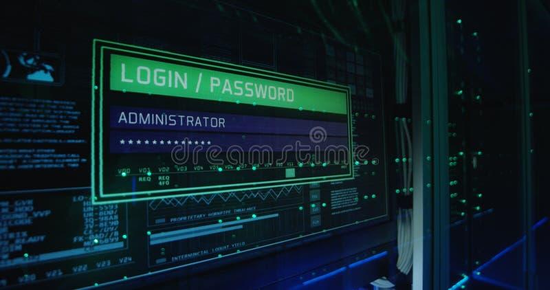 Οθόνη σύνδεσης υπολογιστών σε ένα σύγχρονο κέντρο δεδομένων στοκ φωτογραφίες