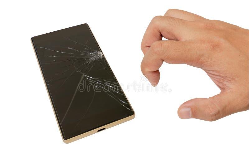 Οθόνη του σπασμένου χεριού smartphone και ατόμων ` s στοκ φωτογραφίες