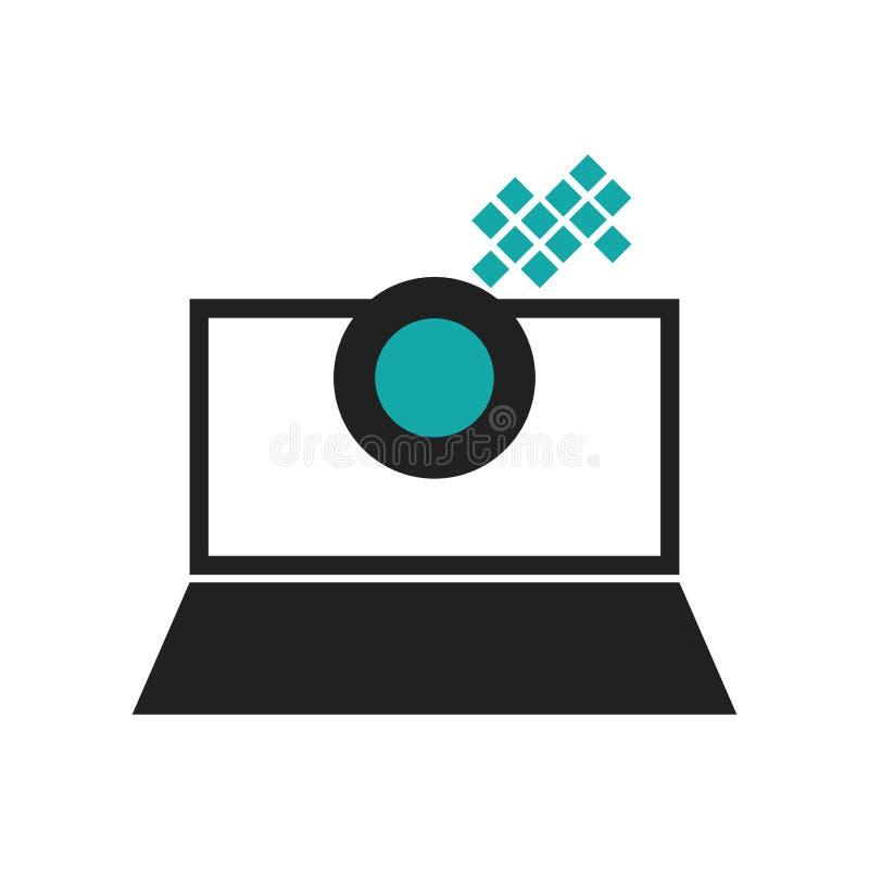 Οθόνη lap-top με το ανθρώπινο επικεφαλής γραφικό διανυσματικό σημάδι εικονιδίων και σύμβολο που απομονώνεται στο άσπρο υπόβαθρο,  διανυσματική απεικόνιση