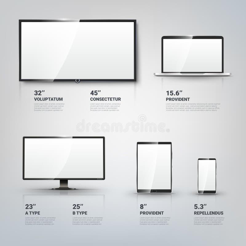 Οθόνη TV, όργανο ελέγχου LCD, σημειωματάριο, υπολογιστής ταμπλετών διανυσματική απεικόνιση